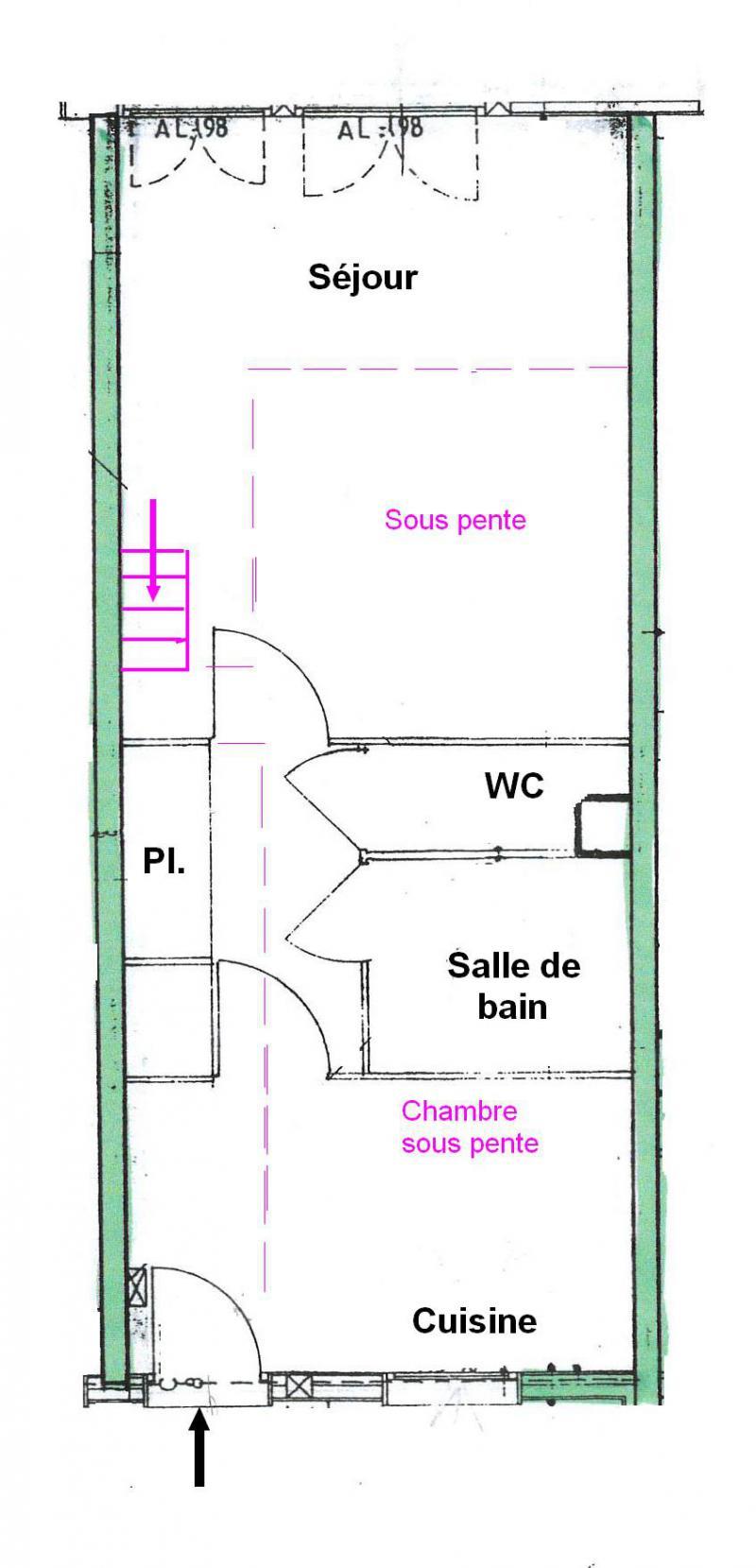 Location au ski Appartement 2 pièces 5 personnes (025) - Résidence le Tavaillon - Les Saisies - Plan