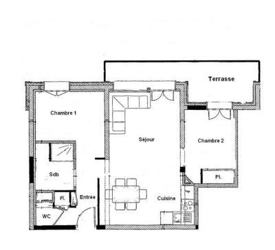 Rent in ski resort 3 room apartment 6 people (001) - Chalet les Carons - Les Saisies - Plan