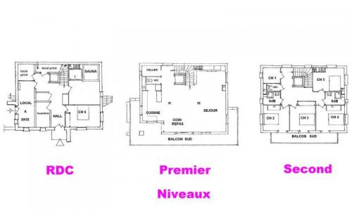 Rent in ski resort 7 room triplex chalet 14 people (CHACHO) - Chalet Pierres du Chozal - Les Saisies - Plan