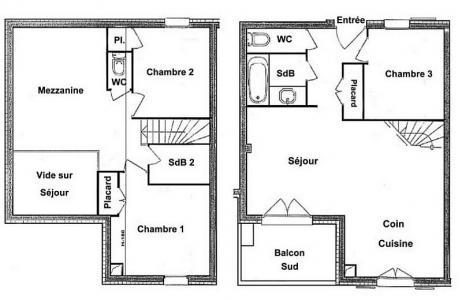 Rent in ski resort 4 room mezzanine apartment 8 people (FERJ07) - Les Fermes du Beaufortain J - Les Saisies - Plan