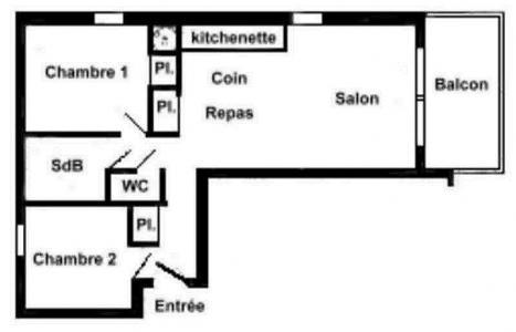 Rent in ski resort 3 room apartment 6 people (FERJ03) - Les Fermes du Beaufortain J - Les Saisies - Plan