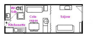 Rent in ski resort Studio 3 people (039) - Résidence Bisanne - Les Saisies - Plan