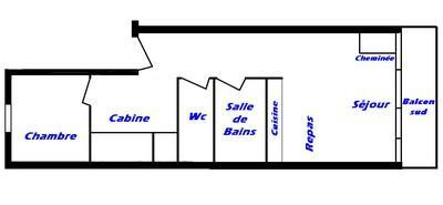 Rent in ski resort 2 room apartment sleeping corner 6 people (033) - Résidence Breithorn - Les Saisies - Plan