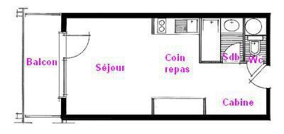 Rent in ski resort Studio sleeping corner 4 people (1114 n'est plus commercialisé) - Résidence Grand Mont 1 - Les Saisies