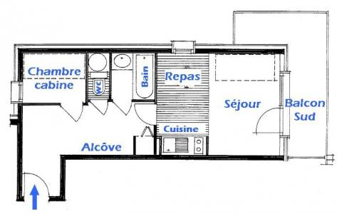 Rent in ski resort 2 room apartment 5 people (2206) - Résidence Grand Mont 2 - Les Saisies - Plan