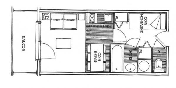 Rent in ski resort Studio sleeping corner 4 people (2211) - Résidence Grand Mont 2 - Les Saisies - Plan