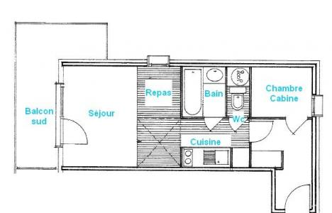 Rent in ski resort 2 room apartment 4 people (2207) - Résidence Grand Mont 2 - Les Saisies - Plan