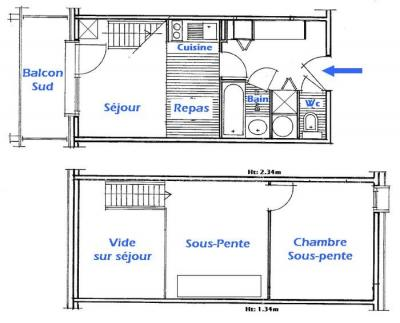 Rent in ski resort 2 room mezzanine apartment 6 people (4421) - Résidence Grand Mont 4 - Les Saisies - Plan