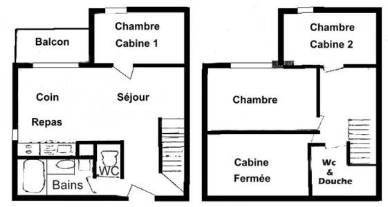 Rent in ski resort 4 room apartment cabin 8 people (19) - Résidence Isabella C - Les Saisies - Plan