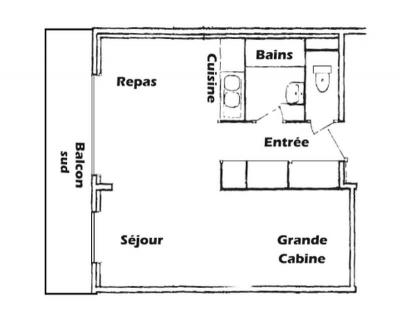 Rent in ski resort 1 room apartment 5 people (016) - Résidence l'Ecrin - Les Saisies - Plan