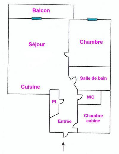 Rent in ski resort 3 room apartment 4 people (04) - Résidence la Forêt des Rennes 1 C - Les Saisies - Plan
