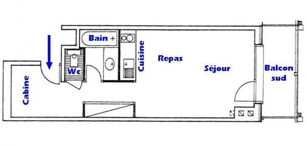 Rent in ski resort Studio cabin 4 people (006) - Résidence le Bouquetin - Les Saisies - Plan