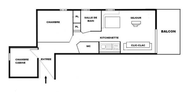 Rent in ski resort 2 room apartment sleeping corner 6 people (A18) - Résidence le Christiania A - Les Saisies - Plan