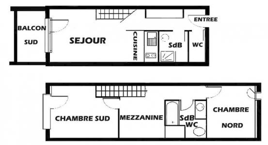 Rent in ski resort 3 room mezzanine apartment 8 people (013) - Résidence le Glacier B - Les Saisies - Plan