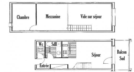 Rent in ski resort 2 room mezzanine apartment 7 people (016) - Résidence le Glacier B - Les Saisies - Plan