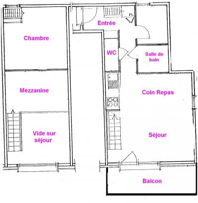 Rent in ski resort 3 room mezzanine apartment 6 people (3318) - Résidence le Grand Mont 3 - Les Saisies - Plan