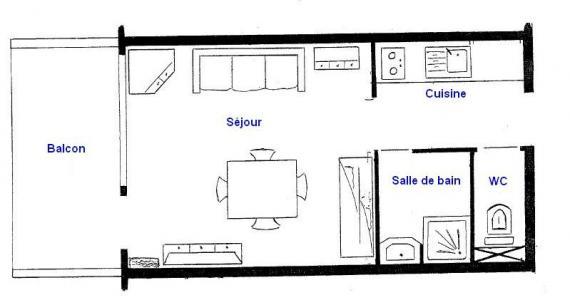 Rent in ski resort Studio 4 people (A16) - Résidence le Plein Soleil A - Les Saisies - Plan