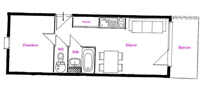 Rent in ski resort 2 room apartment 4 people (312) - Résidence le Village 3 - Les Saisies - Plan