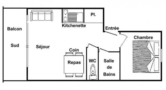 Rent in ski resort 2 room apartment 4 people (311) - Résidence le Village 3 - Les Saisies