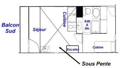 Rent in ski resort 1 room mezzanine apartment 6 people (425) - Résidence le Village 4 - Les Saisies - Plan