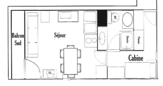Rent in ski resort Studio sleeping corner 4 people (415) - Résidence le Village 4 - Les Saisies - Plan