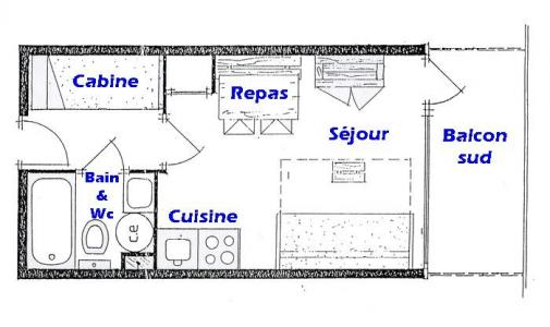 Rent in ski resort Studio sleeping corner 4 people (017) - Résidence les Cyclamens - Les Saisies - Plan