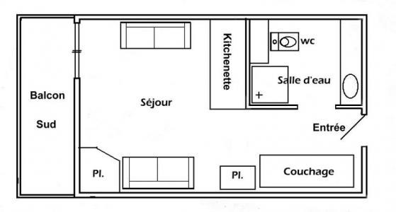 Rent in ski resort Studio 3 people (010) - Résidence Lezette 1 - Les Saisies - Plan