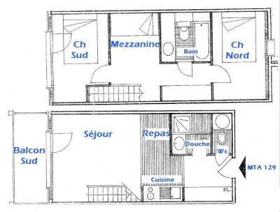 Rent in ski resort 3 room mezzanine apartment 8 people (129) - Résidence Mont Blanc A - Les Saisies - Plan