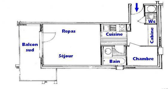 Rent in ski resort 2 room apartment sleeping corner 5 people (206 n'est plus commercialisé) - Résidence Mont Blanc B - Les Saisies