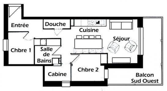 Rent in ski resort 3 room apartment 8 people (001) - Résidence Mouanda - Les Saisies