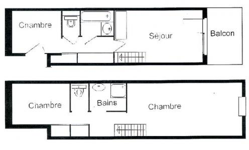 Rent in ski resort 3 room apartment 8 people (02) - Résidence Neige d'Or - Les Saisies - Plan