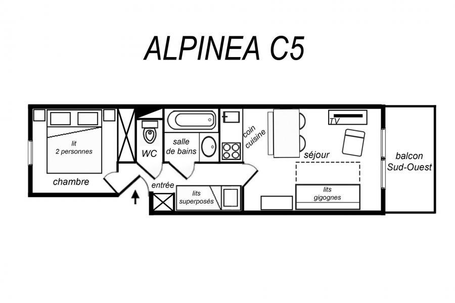 Location au ski Appartement 2 pièces coin montagne 6 personnes (C05) - Résidence Alpinéa - Méribel-Mottaret