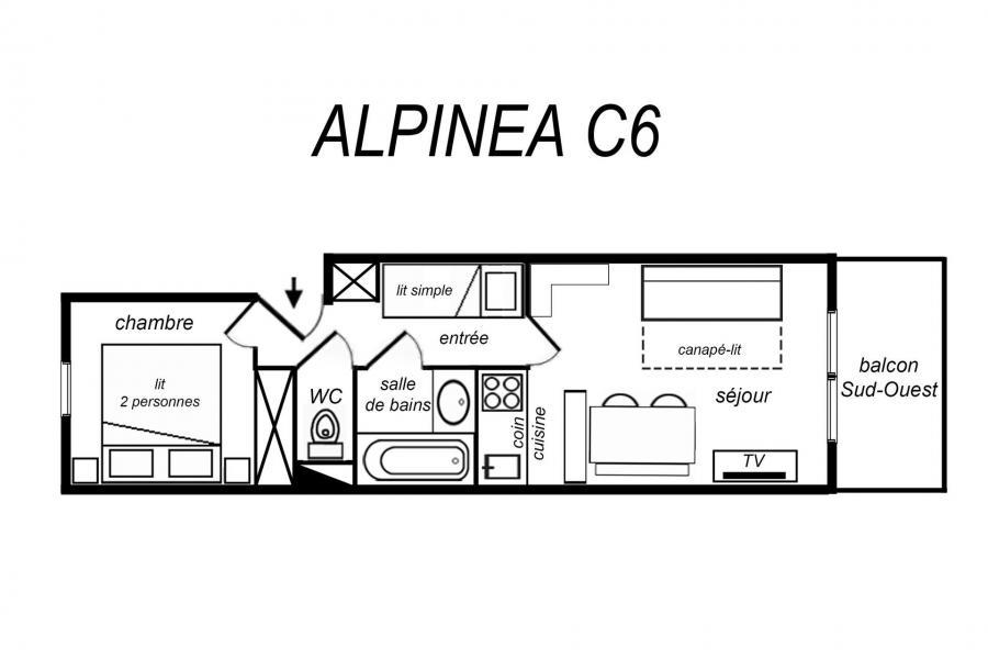 Location au ski Appartement 2 pièces coin montagne 5 personnes (C06) - Résidence Alpinéa - Méribel-Mottaret