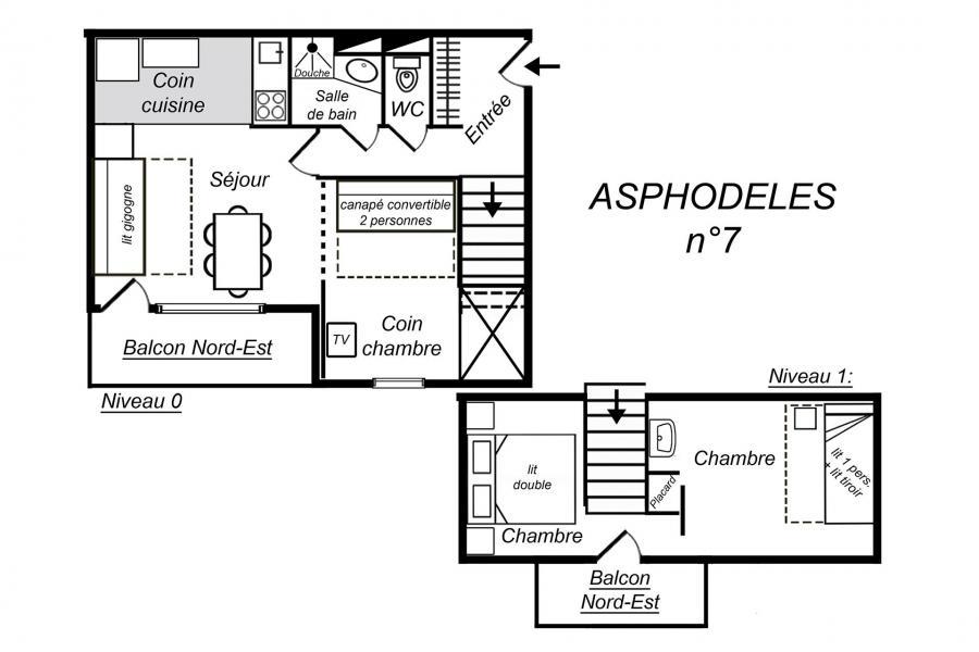 Location au ski Appartement duplex 3 pièces 7 personnes (007) - Résidence Asphodèles - Méribel-Mottaret - Plan
