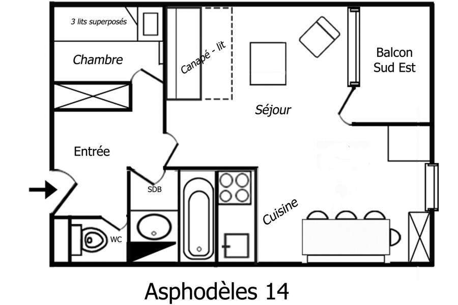 Location au ski Appartement 2 pièces 4 personnes (14) - Résidence Asphodèles - Méribel-Mottaret - Appartement