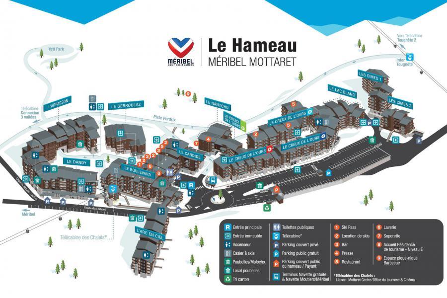 Ski verhuur Résidence Creux de l'Ours Bleu - Méribel-Mottaret - Kaart