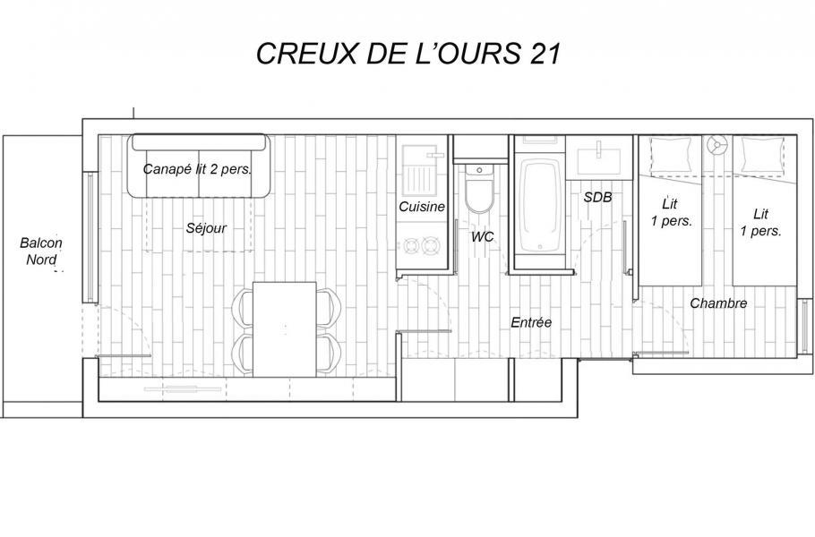 Location au ski Appartement 2 pièces 4 personnes (21) - Résidence Creux de l'Ours Bleu - Méribel-Mottaret - Plan