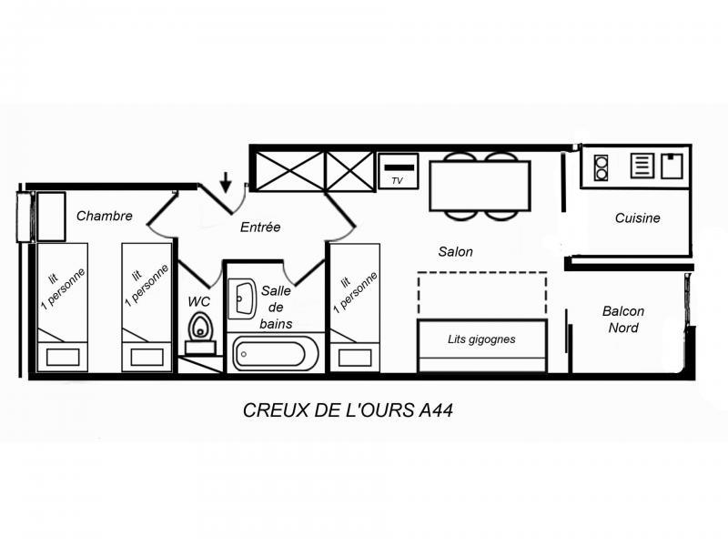 Location au ski Logement 2 pièces 4 personnes (CROA44) - Résidence Creux de l'Ours Rouge - Méribel-Mottaret - Plan