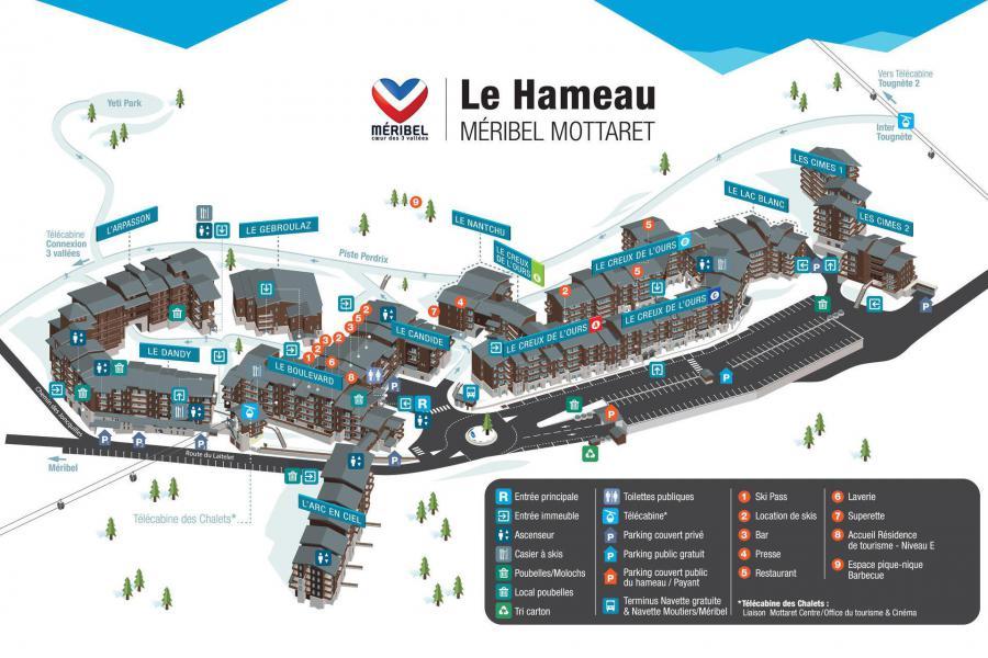 Location au ski Résidence Dandy - Méribel-Mottaret - Plan
