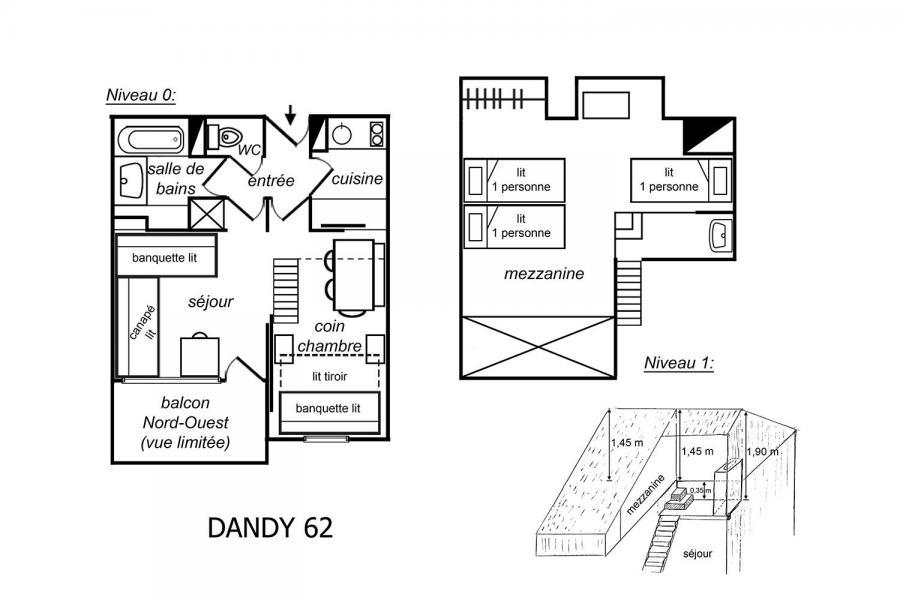 Location au ski Appartement 2 pièces mezzanine 5 personnes (062) - Résidence Dandy - Méribel-Mottaret - Plan