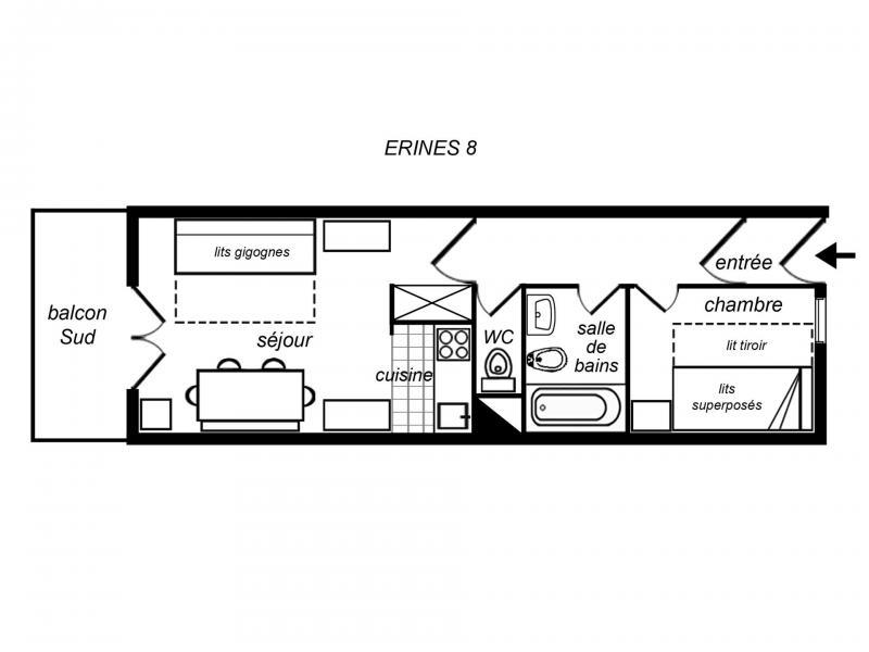 Location au ski Appartement 2 pièces 4 personnes (008) - Résidence Erines - Méribel-Mottaret
