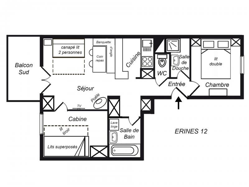 Location au ski Appartement 3 pièces cabine 6 personnes (012) - Résidence Erines - Méribel-Mottaret