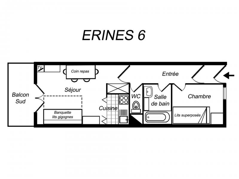 Location au ski Appartement 2 pièces 4 personnes (006) - Résidence Erines - Méribel-Mottaret