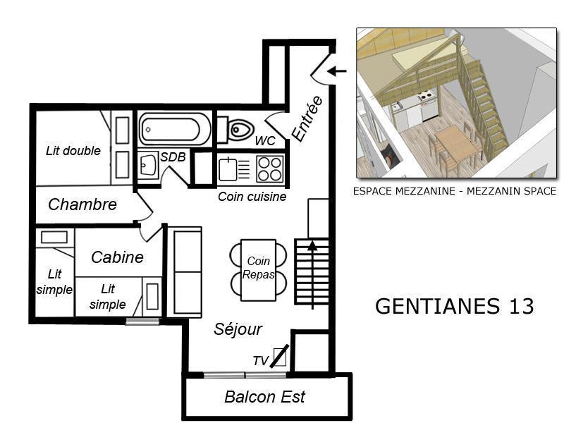 Location au ski Appartement 3 pièces cabine mezzanine 5 personnes (GEN013) - Résidence Gentianes - Méribel-Mottaret
