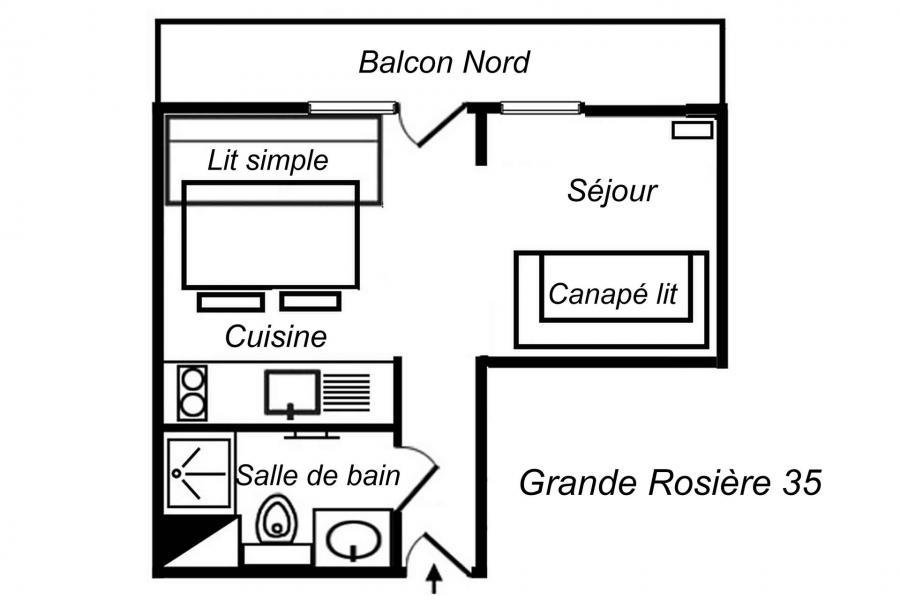 Location au ski Studio divisible 3 personnes (35) - Résidence Grande Rosière - Méribel-Mottaret - Plan