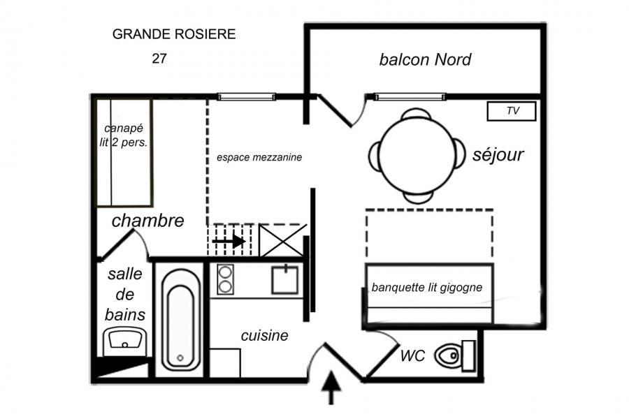 Location au ski Studio 4 personnes (27) - Résidence Grande Rosière - Méribel-Mottaret - Plan