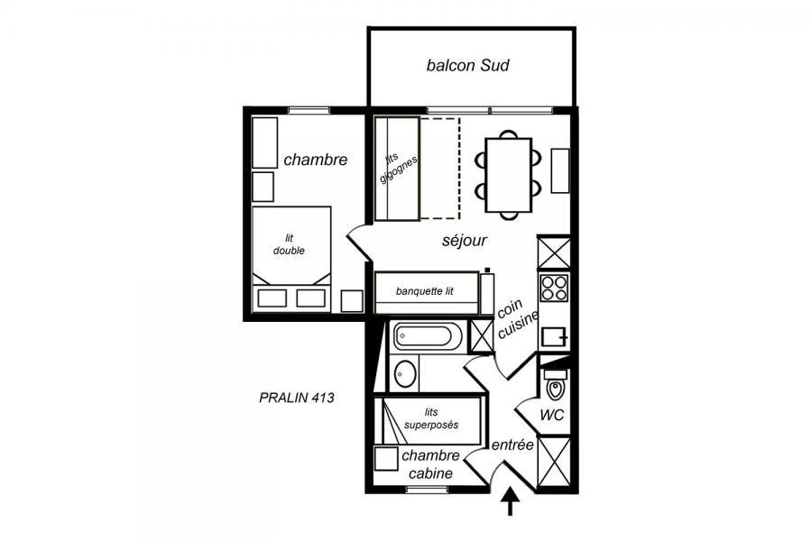 Location au ski Appartement 2 pièces 5 personnes (413) - Résidence le Pralin - Méribel-Mottaret - Plan