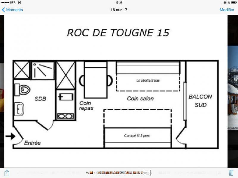 Location au ski Studio 5 personnes (015) - Résidence le Roc de Tougne - Méribel-Mottaret - Plan