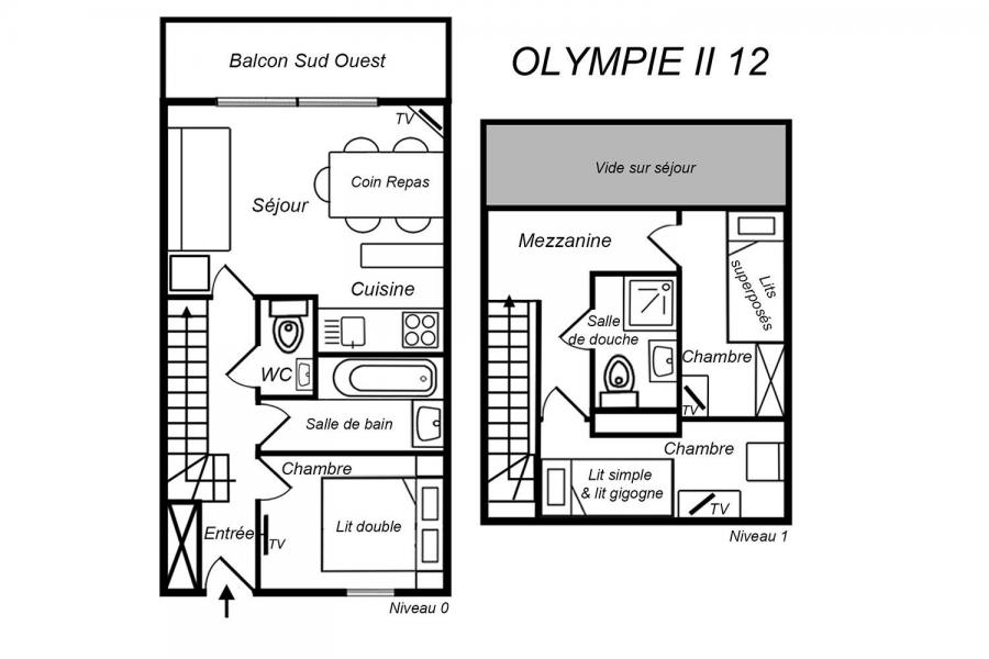 Location au ski Appartement duplex 4 pièces 6 personnes (12) - Résidence Olympie II - Méribel-Mottaret - Plan