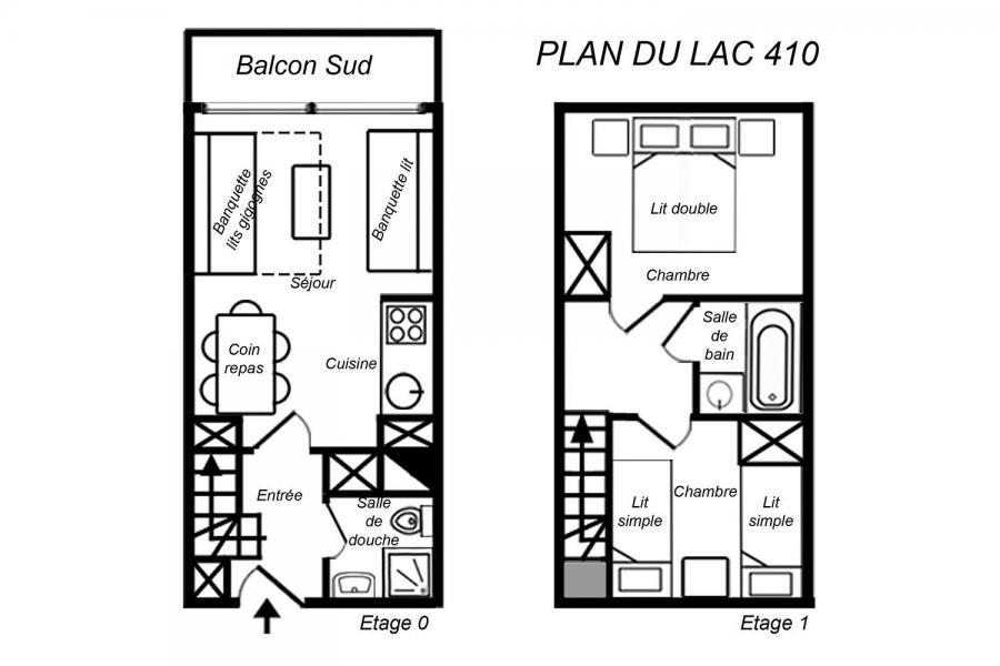 Location au ski Appartement duplex 3 pièces 6 personnes (410) - Résidence Plan du Lac - Méribel-Mottaret